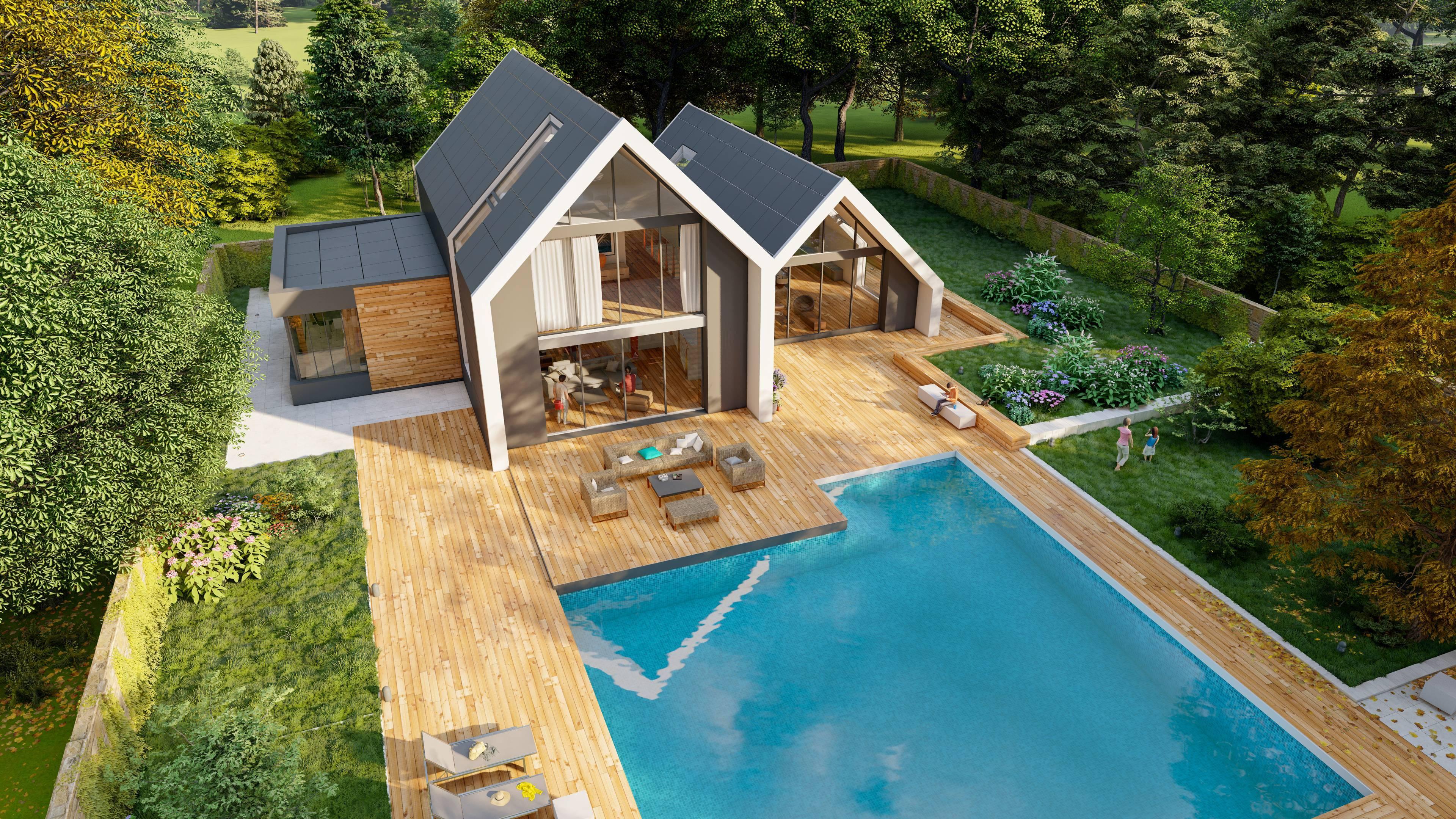 piscine et bois